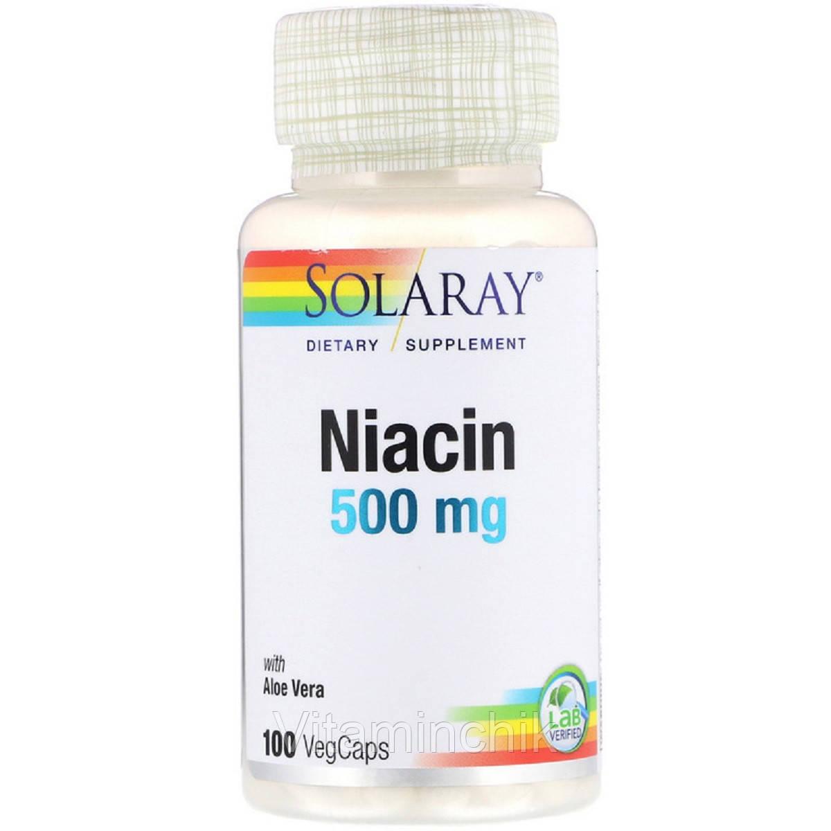 Ниацин, 500 Мг, Solaray, 100 капсул