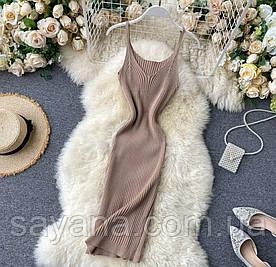 Женское вязанное облегающее платье, в расцветках. АР-4-0720