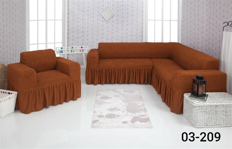Чехол на угловой диван и кресло с оборкой, натяжной, жатка-креш, универсальный Concordia, Горчичный