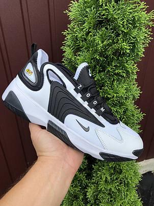 Мужские демисезонные кроссовки Nike Zoom 2K,белые с черным, фото 2