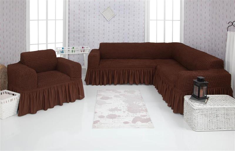 Чехол на угловой диван и кресло с оборкой, натяжной, жатка-креш, универсальный Concordia, Коричневый