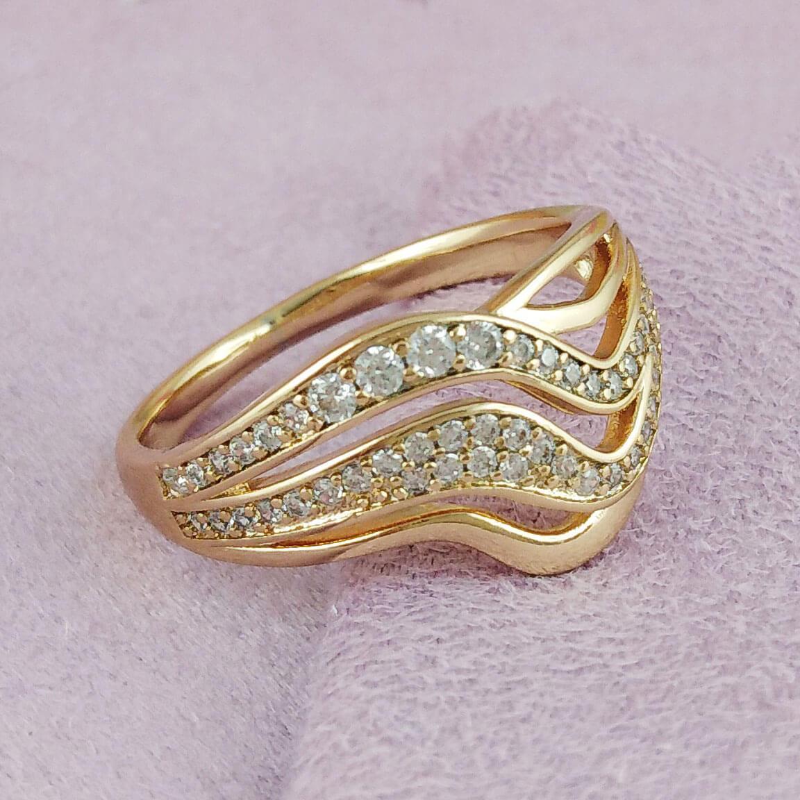 Кольцо Xuping Jewelry размер 16,5 Джиневра медицинское золото позолота 18К А/В 2-0129