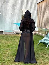 Пляжная туника-халат черная в пол с длинными рукавами и поясом, фото 3