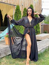 Пляжная туника-халат черная в пол с длинными рукавами и поясом, фото 2