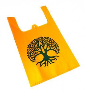9040018 Эко сумка из спанбонда с принтом Оранжевая