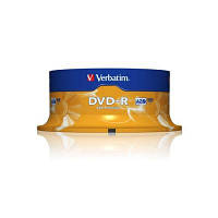 Диск DVD-R Verbatim 4.7Gb 16X CakeBox 25шт (43522)