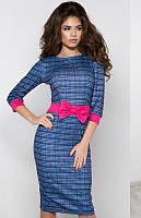 Синее женское демисезонное  платье.