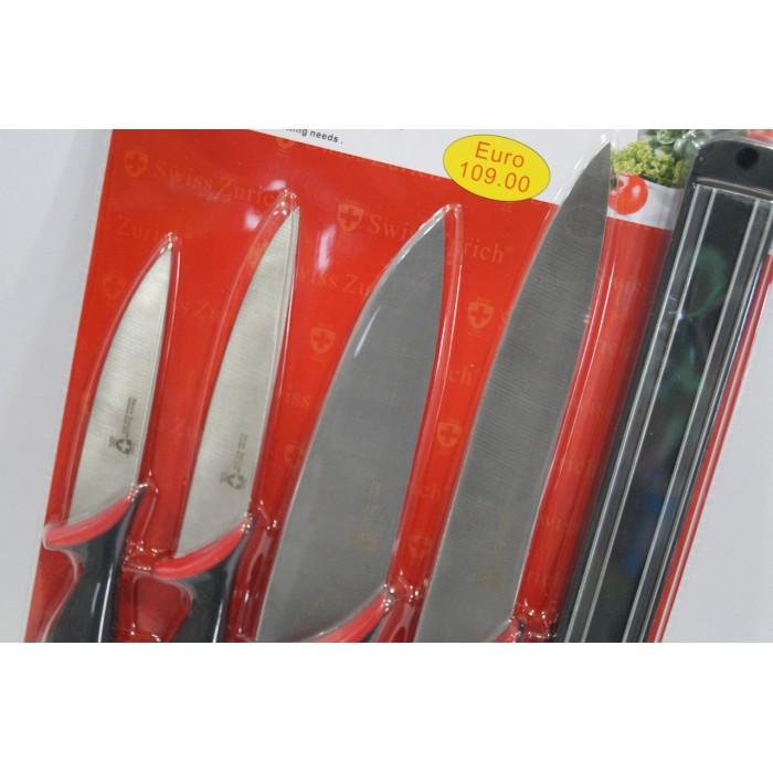 Набор металлических ножей Swiss Zurich SZ-13101 + магнитная рейка-держНет в наличии 2