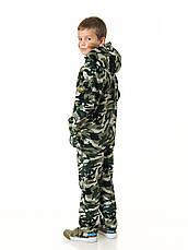 Детский камуфляж костюм для мальчиков Лесоход цвет зеленый камуфляж Вельвет на флисе, фото 2