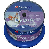 Диск DVD+R Verbatim 4.7Gb 16X CakeBox 50штWidePrintable (43512)