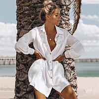Бавовняна туніка-сорочка кружево біла S-L   пляжная туника-рубашка белая кружевная парео 42-46