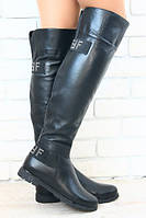 Ботфорты кожаные без каблука
