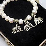 Браслет жемчуг слоники и мельхиор, фото 2