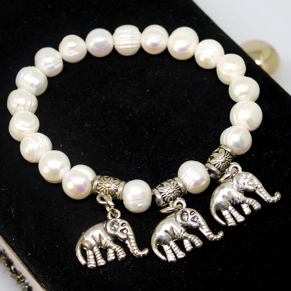 Браслет жемчуг слоники и мельхиор