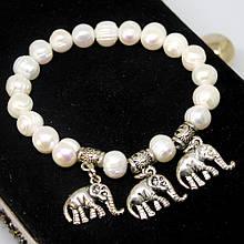 Браслет перли слоники і мельхіор