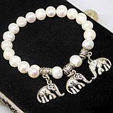 Браслет жемчуг слоники и мельхиор, фото 3
