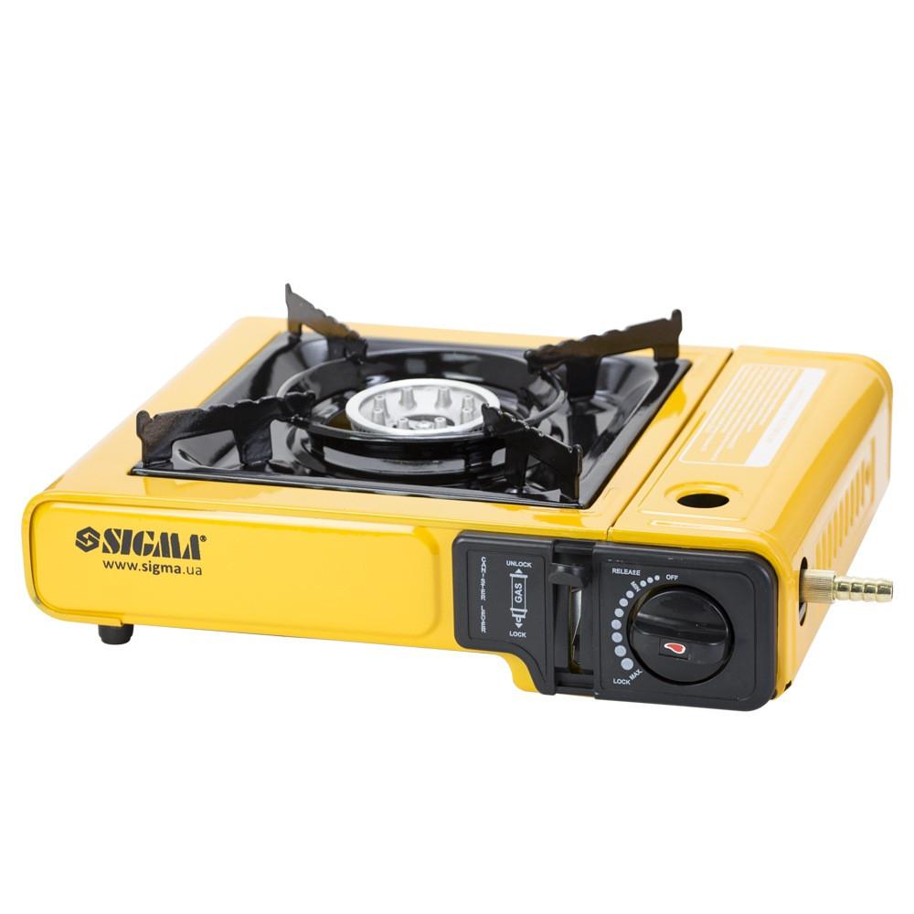 Купить Товары, общее, Плита газовая одноконфорочная с пьезоподжигом и адаптером (кейс) SIGMA (2903431)
