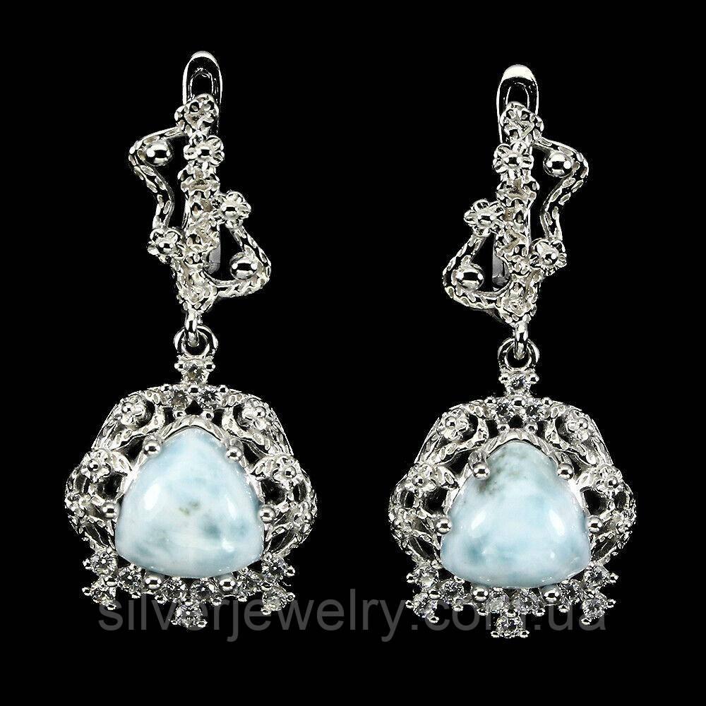 Срібні сережки з ЛАРИМАРОМ (натуральний), срібло 925 пр