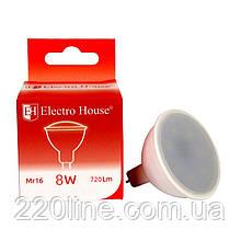 ElectroHouse LED лампа для точечных светильников MR16/4100K/8W 720Lm/120°
