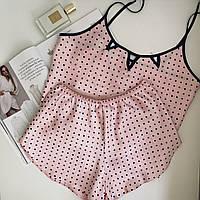 Пижама женская атласная в горошек Magic Jill S Розовая, фото 1