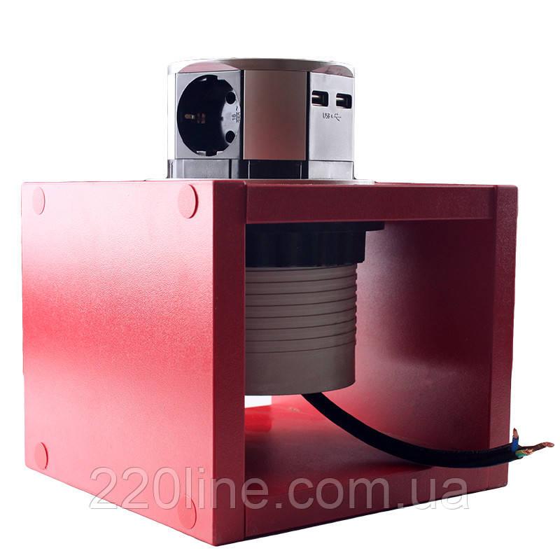 ElectroHouse Компактная мебельная розетка  (горизонтальная) 3х16A, 2хUSB 2,4A IP40