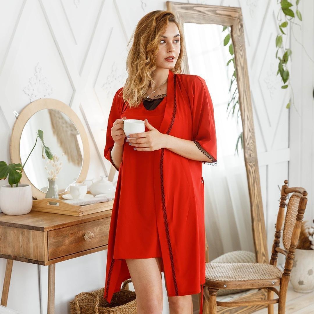 Комплект женский халат + пеньюар красного цвета