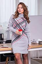 Жіноче тепле в'язана сукня «Клітка»