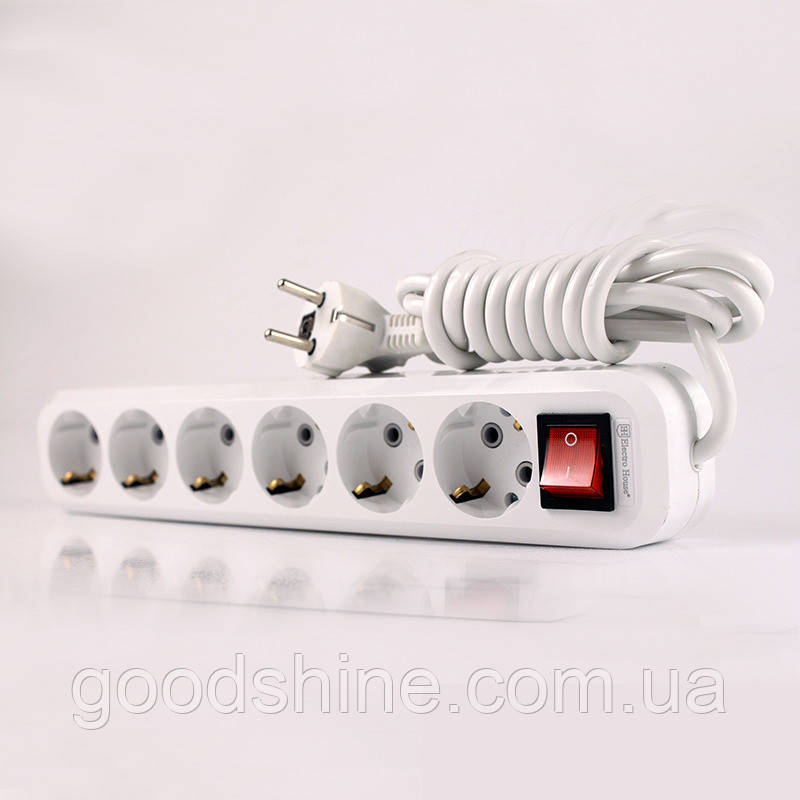 ElectroHouse Удлинитель 6 гнезд с кнопкой, длина 3м с заземлением