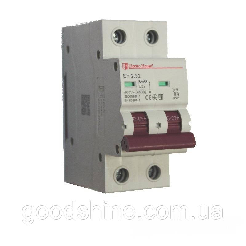 ElectroHouse Автоматический выключатель 2P 32A 4,5kA 230-400V IP20