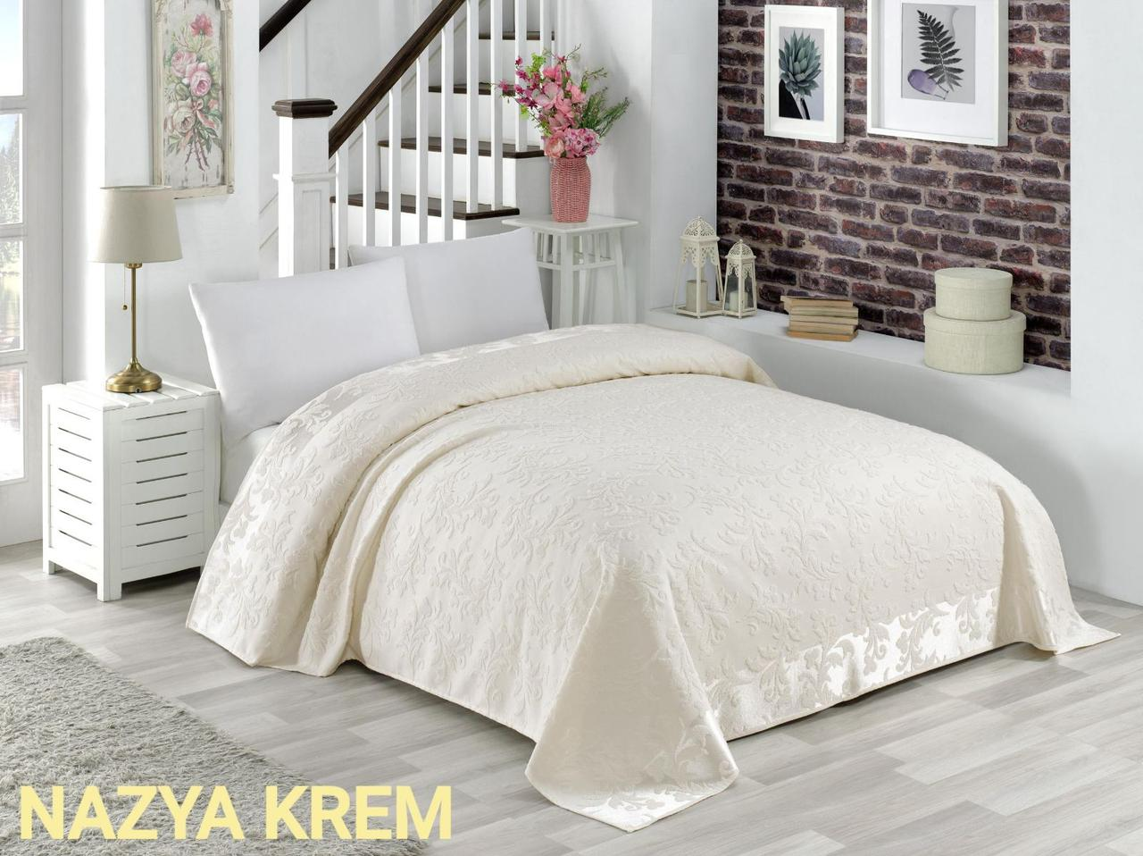 Махровая простынь хлопок 150*220 (TM Zeron) 450г/м2 Nazya Krem, Турция