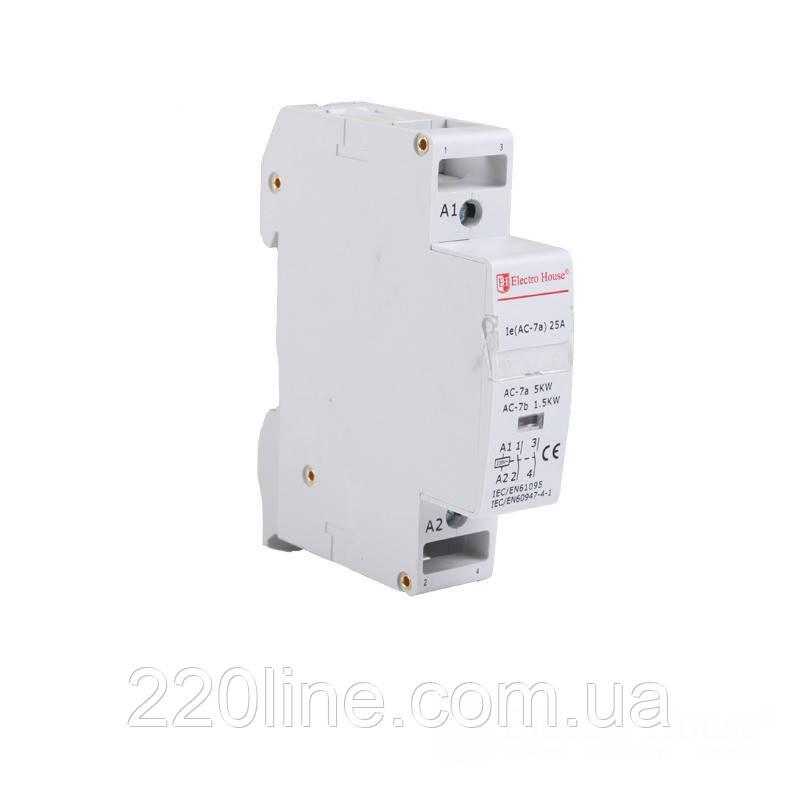ElectroHouse Контактор модульный 1P 25A 220-230V IP20 2НО