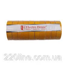 ElectroHouse Изолента желтая 0,15мм х 18мм х 21м