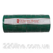 ElectroHouse Ізолента зелена 0,15 мм х 18мм х 21м