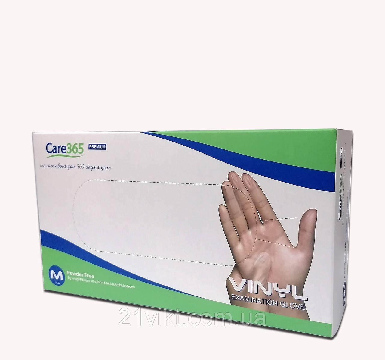 Перчатки Виниловые медицинские неопудреные прозрачные (100шт/уп.) Care 365