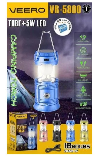 Кемпинговый фонарь VeeroLED Camping Torch (VR-5800),  компактный, освещает местность на 360°, цвет черный .