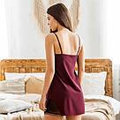 Комплект жіночий халат + пеньюар бордового кольору, фото 4