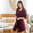 Комплект жіночий халат + пеньюар бордового кольору, фото 6