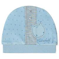Велюровая шапка для новорожденного мальчика Caramell Caramell (0-3 мес)