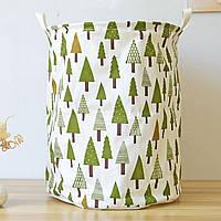 Корзина для игрушек, белья, хранения на завязках Зеленый лес Berni Home
