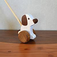Деревянная игрушка SUNROZ для детей собачка-попыхайчик Белый (7145), фото 1