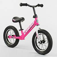 """Велобег (беговел) Corso 63908 надувные колеса, колесо 12"""", розовый, фото 1"""