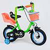 """Детский двухколёсный велосипед 12"""" с ручным тормозом и съемными страховочными колесами Corso 1204 салатовый"""