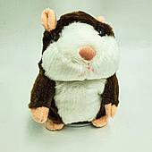 Говорящий хомяк повторюшка детская интерактивная мягкая игрушка повторюша темно-коричневый