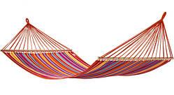 Тканевый гамак с деревянной перекладиной подвесной для туризма и дачи STENSON 200х100 см красно-оранжевый