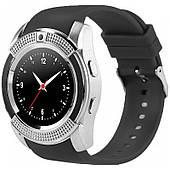 Умные смарт часы телефон Bluetooth microSD Smart Watch Phone V8 Серебро