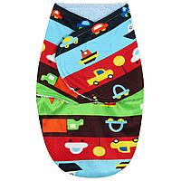 Флисовая пеленка - кокон на липучках Машины на дороге Berni Kids (0-3 мес)