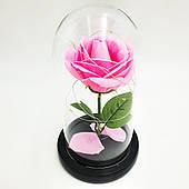 Роза в стеклянной колбе с LED подсветкой 20 см романтический подарок розовая