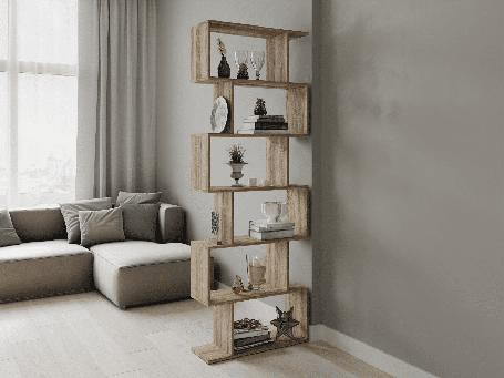 Стеллаж для зонирования комнаты, полка - шкаф для книг Дуб сонома  P0001, фото 2