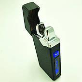 Зажигалка электроимпульсная USB сенсорная электрическая аккумуляторная 2 дуги в подарочной коробке UKC 7037 черная