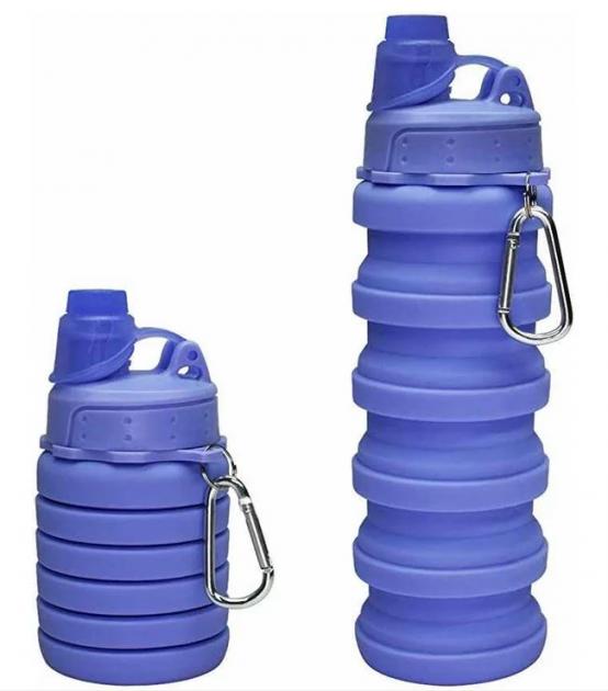 Пляшка силіконова складна спортивна для води та напоїв 500 мл фіолетова
